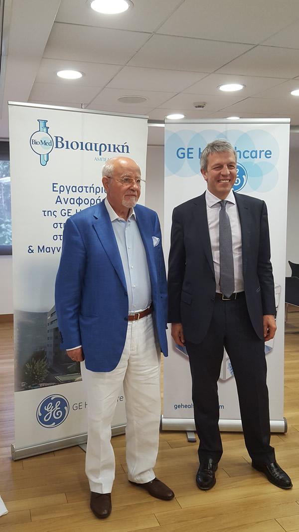 (από αριστερά)ΕΥΑΓΓΕΛΟΣ ΣΠΑΝΟΣ MD, MSc, PhD, Πρόεδρος & Διευθύνων Σύμβουλος Ομίλου ΒΙΟΙΑΤΡΙΚΗ, JEAN- MICHEL MALBRANCQ Πρόεδρος & CEO GEHealthcare Europe