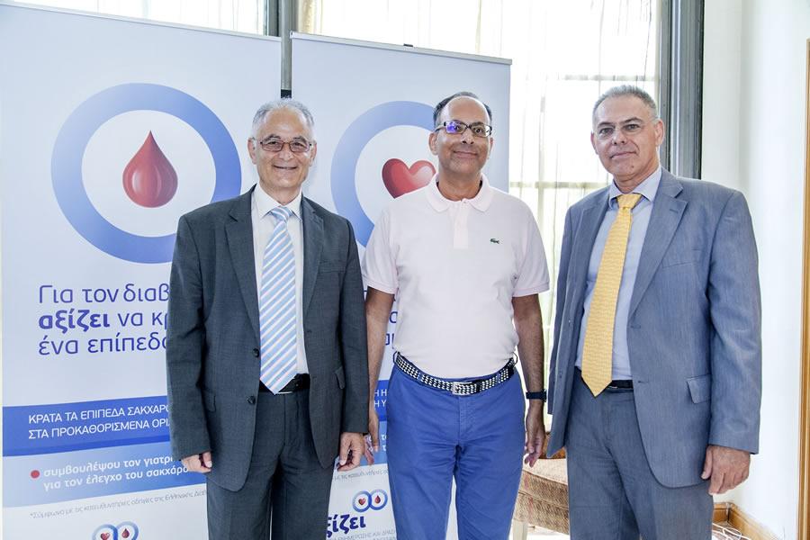 (από αριστερά προς τα δεξιά) Αλέξανδρος Τσελέπης, Καθηγητής Βιοχημείας-Κλινικής Χημείας Παν/μίου Ιωαννίνων και Πρόεδρος της Ελληνικής Εταιρείας Αθηροσκλήρωσης - Νικόλαος Παπάνας, Αναπλ. Καθηγητής Παθολογίας ΔΠΘ, Πανεπιστημιακό Γενικό Νοσοκομείο Αλεξανδρούπολης και Πρόεδρος της Ελληνικής Διαβητολογικής Εταιρείας - Εμμανουήλ Αλεξανδράκης, PhD, Associate Director, Policy & Communications, MSD Ελλάδας