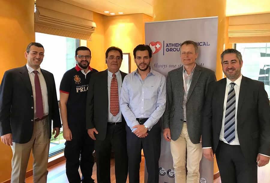 Ο Όμιλος Ιατρικού Αθηνών συμμετέχει στο πλέον καινοτόμο ερευνητικό πρόγραμμα της Ευρωπαϊκής Ένωσης «EVOTION» με σκοπό την πρόληψη και αποτελεσματική αντιμετώπιση της βαρηκοΐας. Συνάντηση της ομάδας έργου του Ομίλου και του Δανού Project Manager, κ Niels Henrik Meedom με το Δρ. Βασίλη Αποστολόπουλο, Διευθύνοντα Σύμβουλο Ομίλου Ιατρικού Αθηνών και τον κ Χρήστο Αποστολόπουλο, Αντιπρόεδρο Ομίλου Ιατρικού Αθηνών.