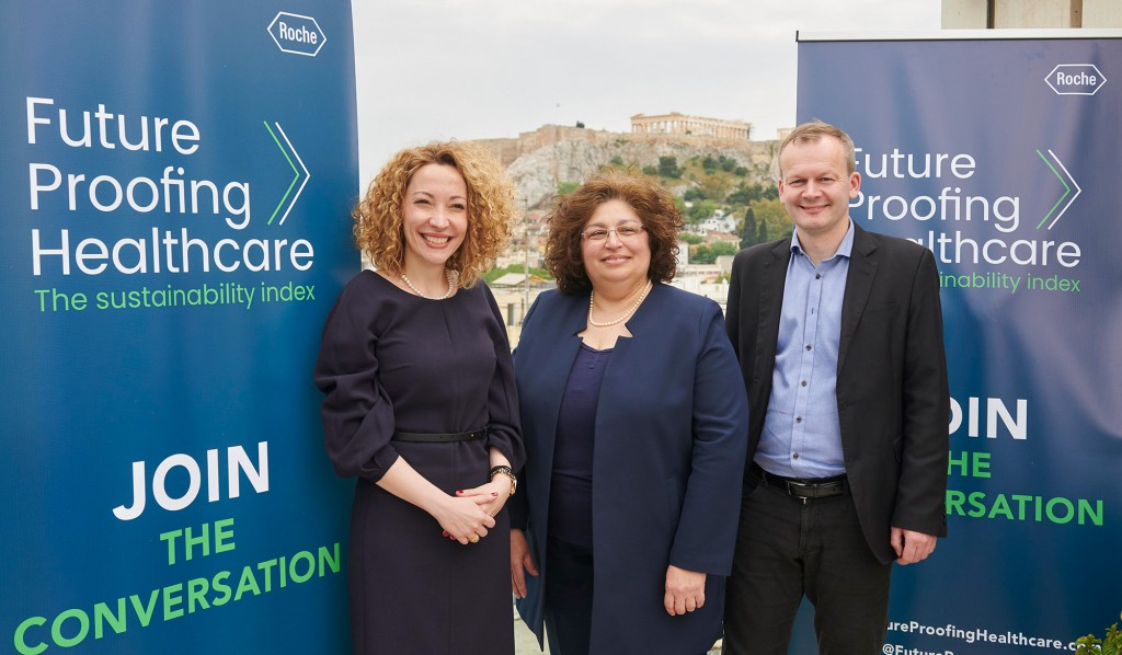 (από δεξιά προς αριστερά): Bogi Eliasen, Futurist and Special Advisor on Future of Health, Head of Denmark Unit UNESCO Chair in Bioethics Ελπίδα Πάβη, Καθηγήτρια Οικονομικών της Υγείας στην Εθνική Σχολή Δημόσιας Υγείας Ξένια Καπόρη, Διευθύντρια Εξωτερικών Υποθέσεων της Roche Hellas